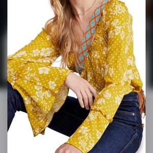 NEW Free People One on One Bell Sleeve Bodysuit